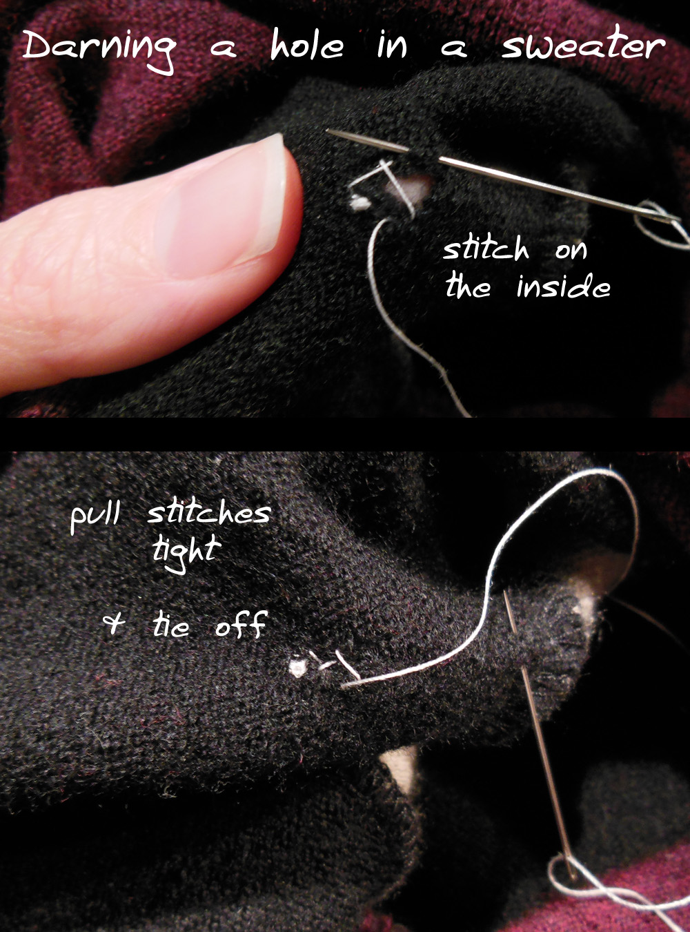 how to mend a hole in a sweater