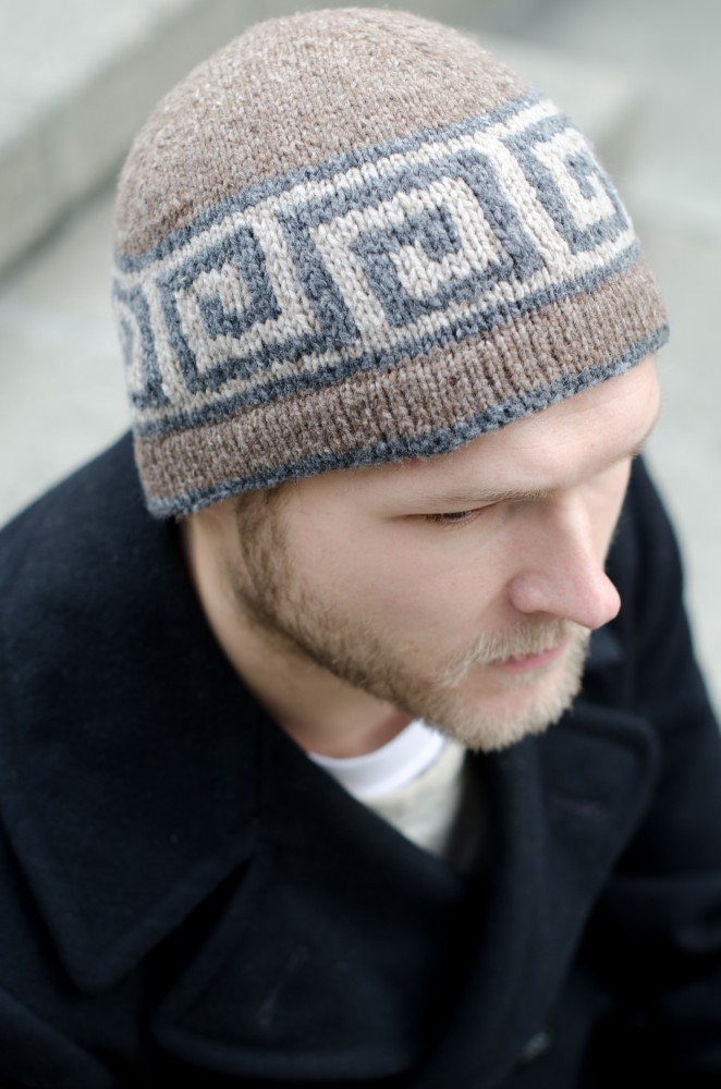 Heartwood is warm for a whole lot of reasons: The knitted-in hem creates double fabric right at the ears where you need it most, stranded color-work creates thickness and lots of places for warm air to get trapped, and the sample uses a woolen spun wool yarn, Brooklyn Tweed Shelter; woolen spinning makes yarn extra lightweight and warm.