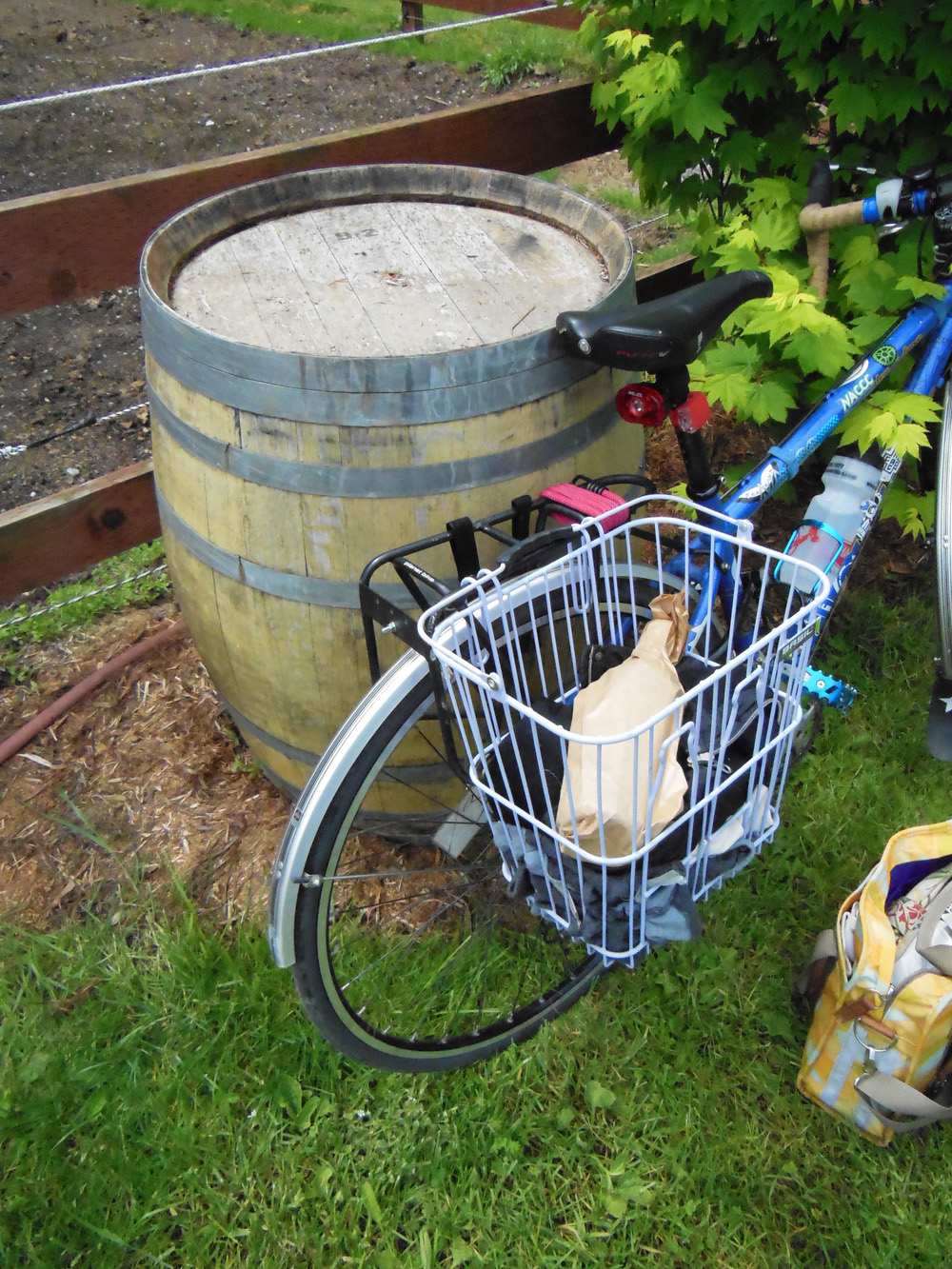 Cycle Whidbey Island  - First bottle of wine in rack