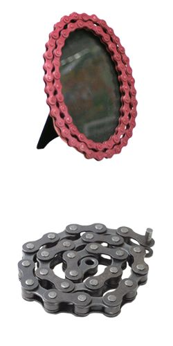 pink bike chain picture frame