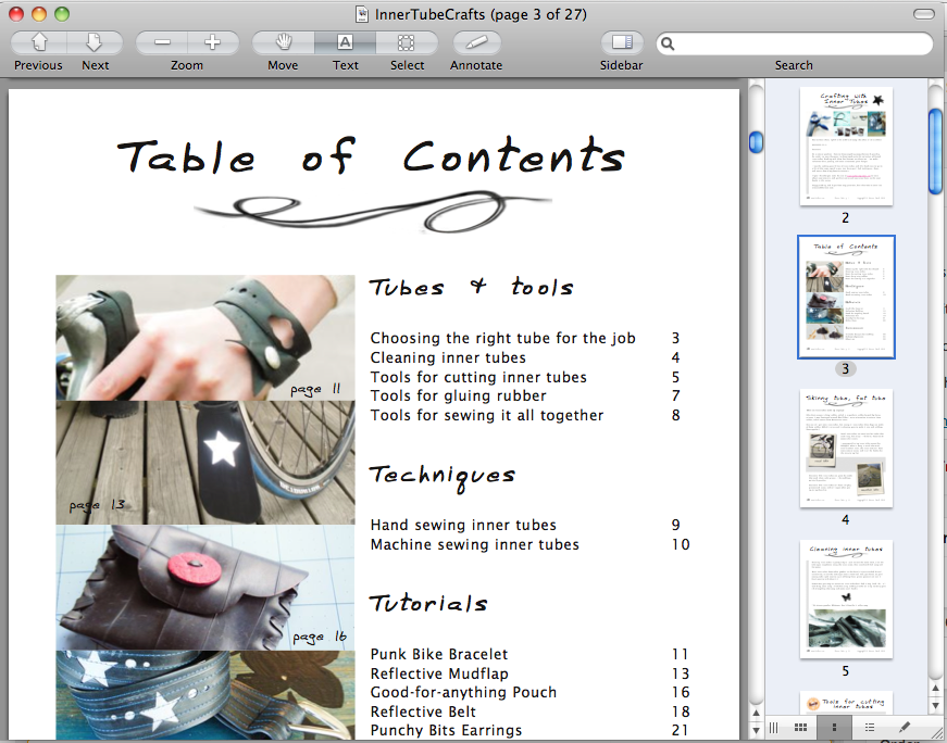 Crafting with inner tubes - table of contents
