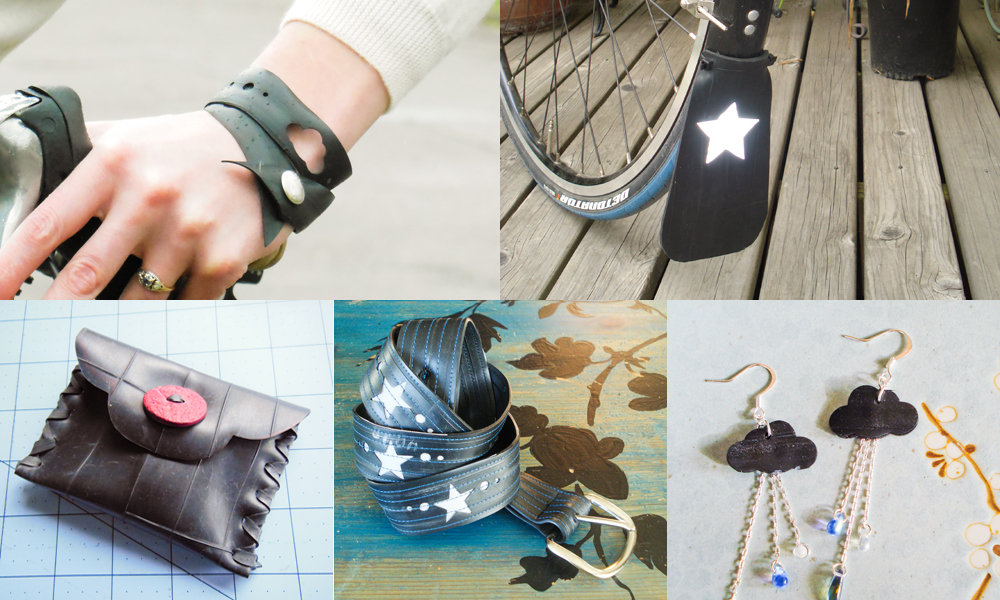 From left to right: Punk Bike Bracelet, Reflective Mudflap, Good-for-anything Pouch, Reflective Belt, Punchy Bits Earrings.